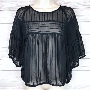 Zara Basics Sheer Dolman Sleeve Peasant Blouse